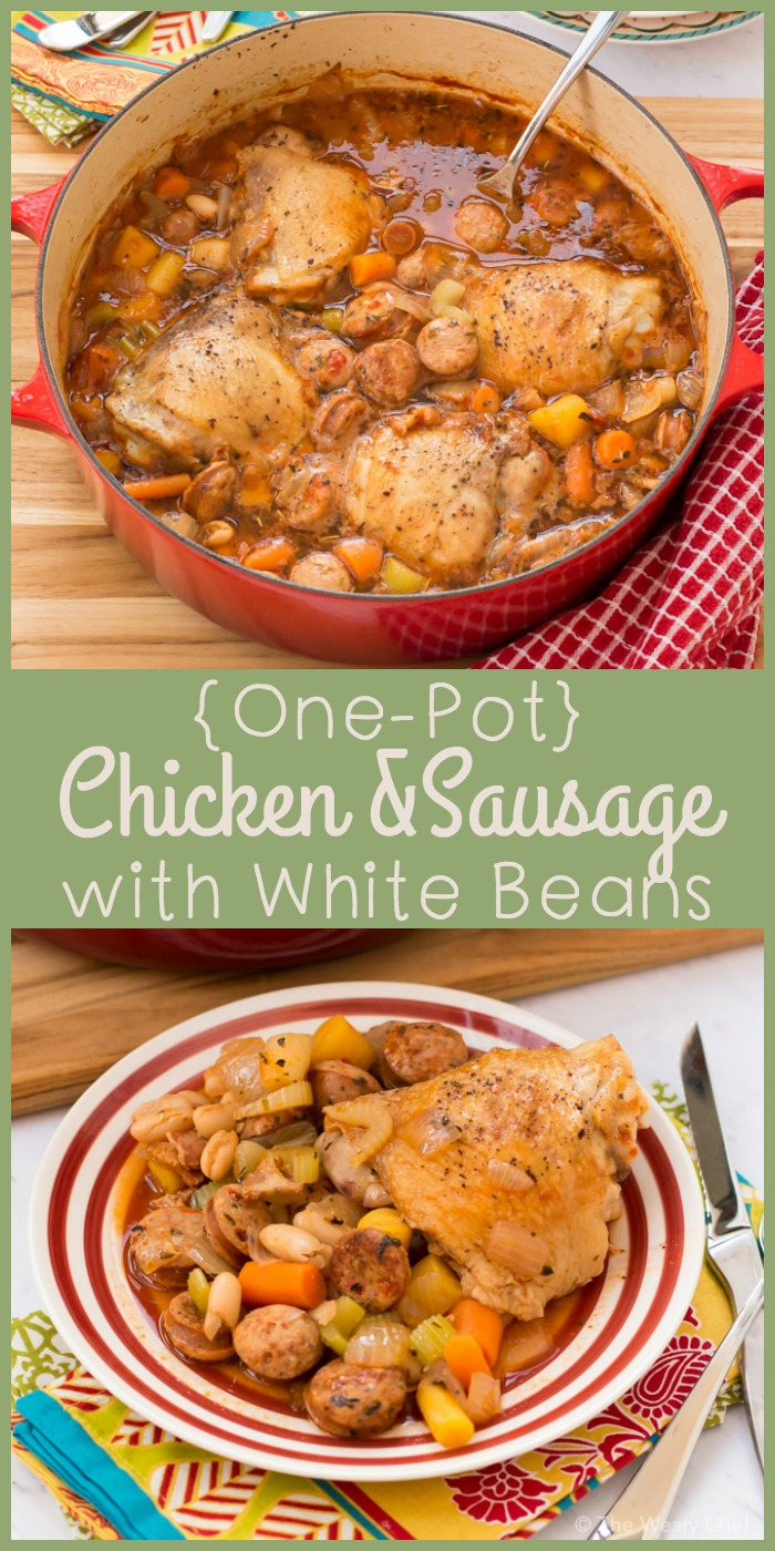 Pull up a chair to enjoy this hearty, savory, delicious One Pot Chicken with Sausage and Beans!