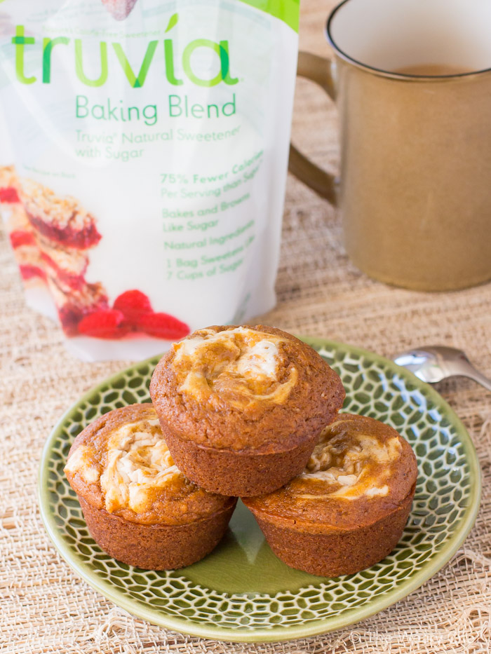 These pumpkin cheescake muffins are lower and sugar and calories than the bakery version!