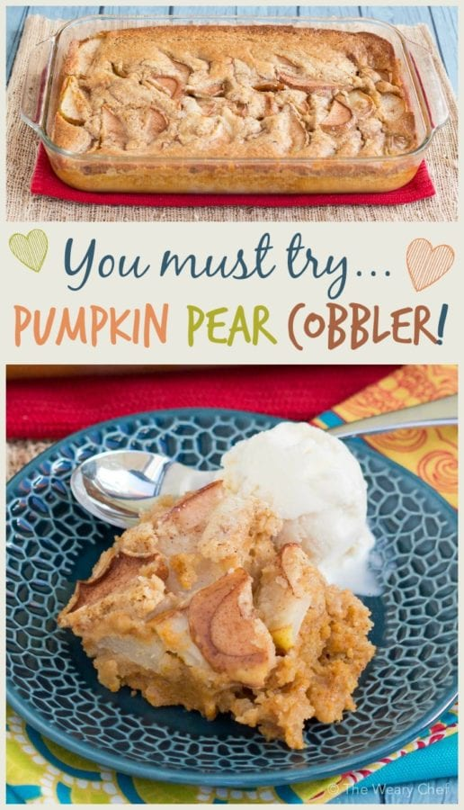 All the best of pumpkin pie and pear cobbler baked into one tasty dessert!