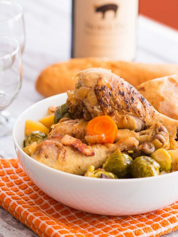 Make these slow cooked brussels sprouts and carrots with or without the chicken for a perfect dinner or side dish recipe!