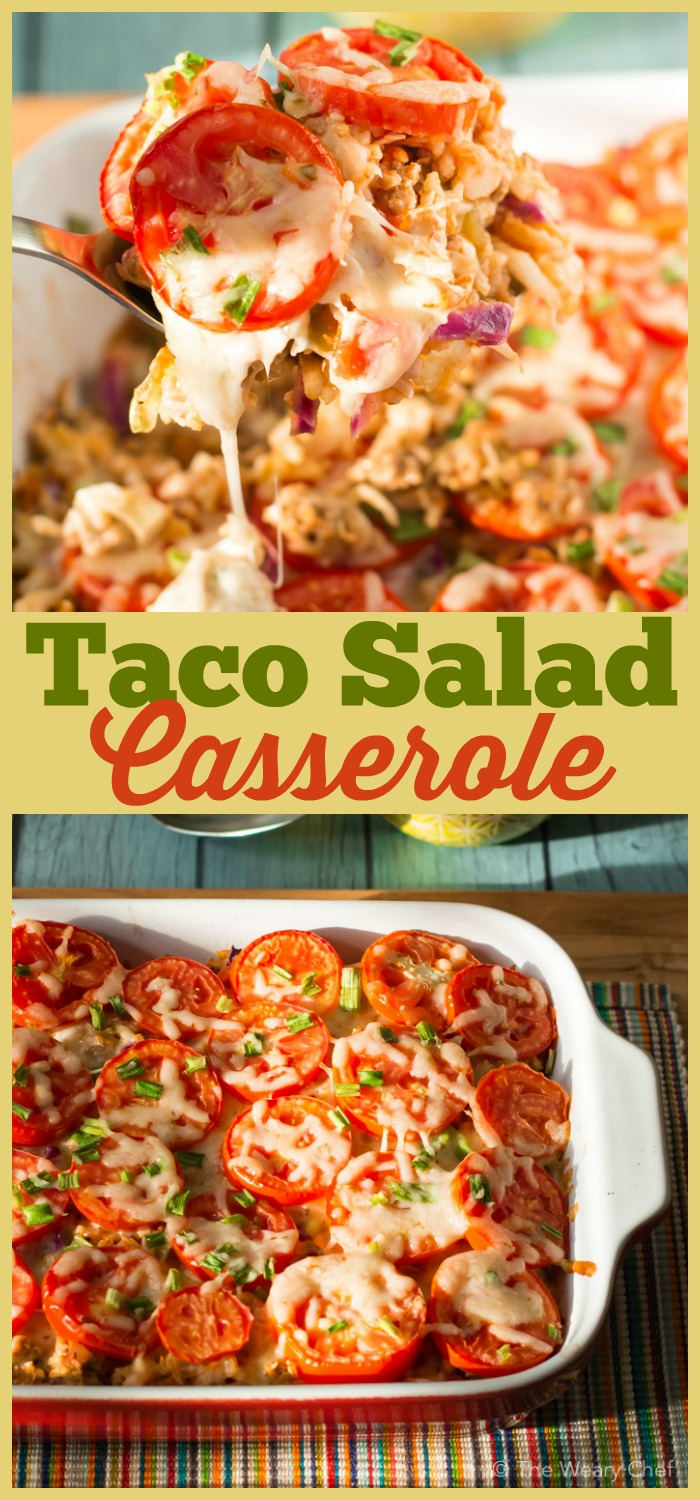 Now you don't have to decide between taco salad and a hot meal. This Taco Salad Casserole loaded with seasoned meat, hearty rice, flavorful salsa, and healthy cabbage gives you the best of both!