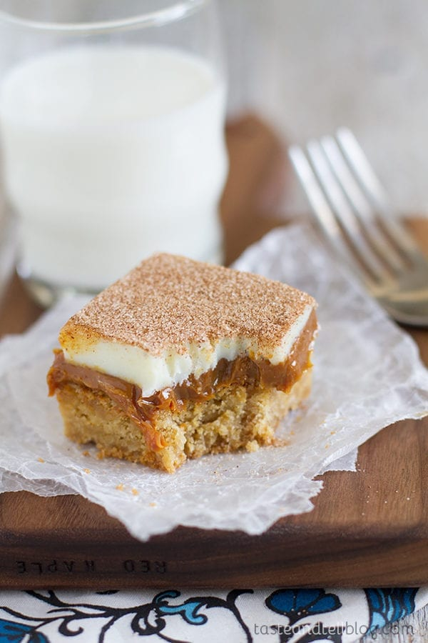 Caramel Snickerdoodle Bars by Taste and Tell Blog