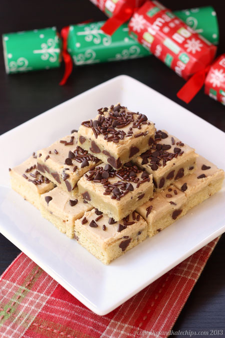Chocolate Chip Sugar Cookie Bars with Peanut Butter Frosting by Cupcakes And Kale Chips