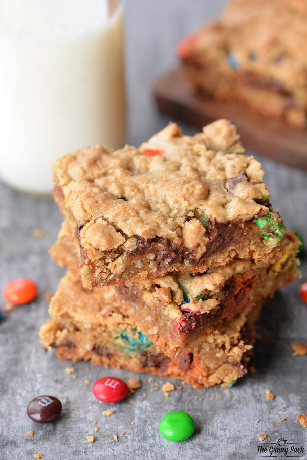 Monster Cookie Bars Recipe by The Gunny Sack