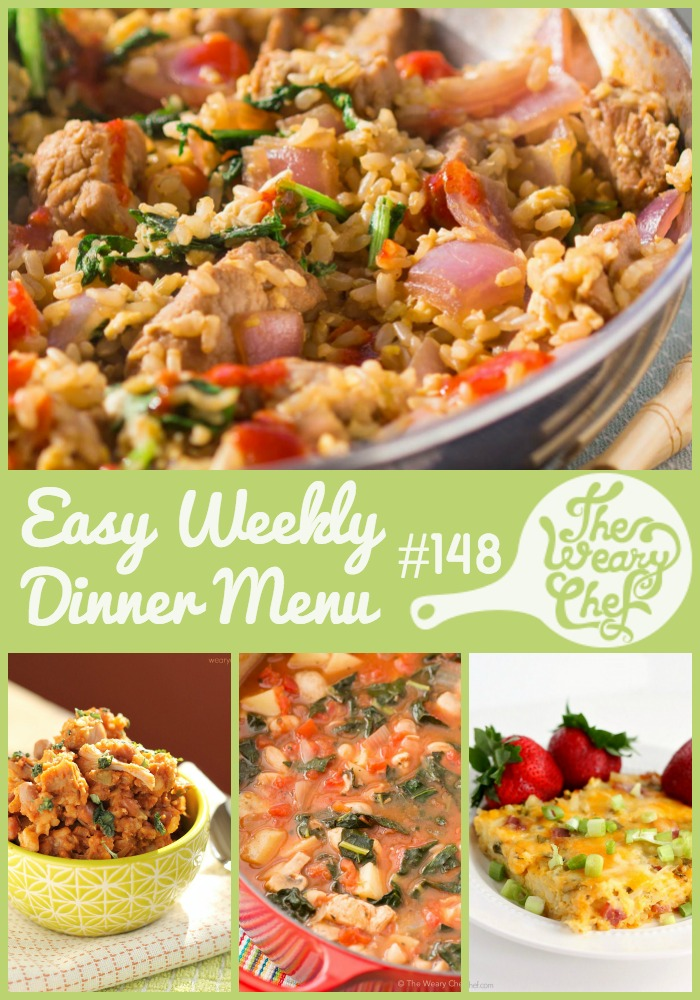 This week's easy dinner menu features Tuscan Chicken Soup, Quick Pork Fried Rice, Swiss Steaks, and lots more!