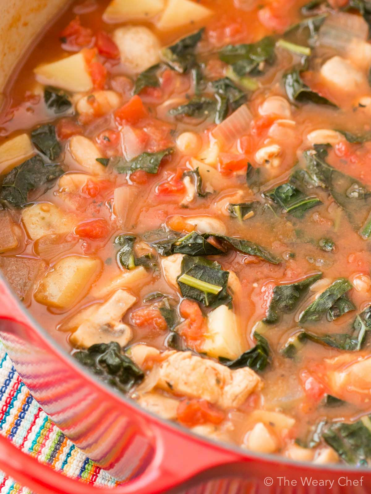 Chicken Potato Soup is just right for cold evenings. This hearty soup with Italian flavors is also loaded with white beans, dino kale, and tomatoes.