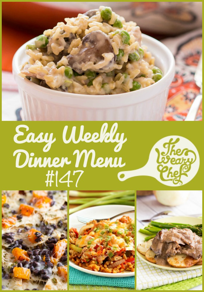 This week's easy dinner menu features a chicken and mushroom skillet, Mexican barley casserole, butternut squash nachos, and lots more!