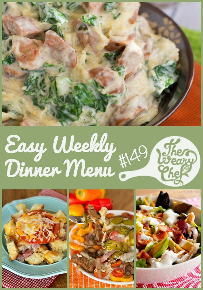 This week's dinner menu is good for using turkey leftovers or moving on if you are tired of turkey! Get easy dinner recipes like Ranch Club Salad, Cheese Steak Rice Bowls, Alfredo Pizza, and lots more!