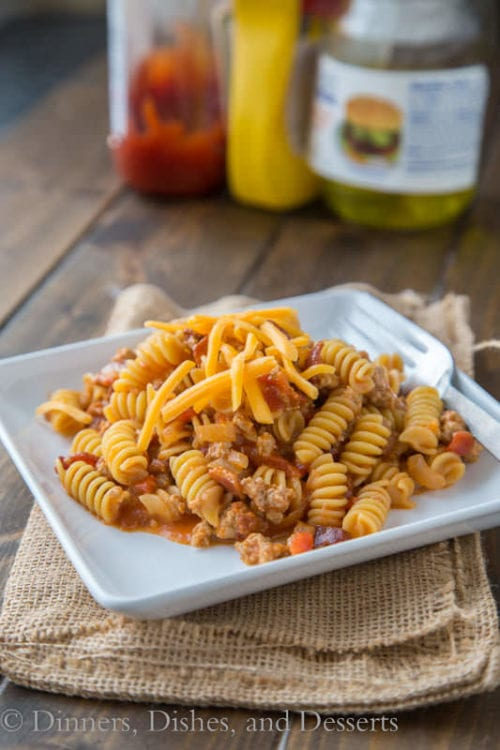Bacon Cheeseburger Pasta Skillet by Dinners Dishes and Desserts