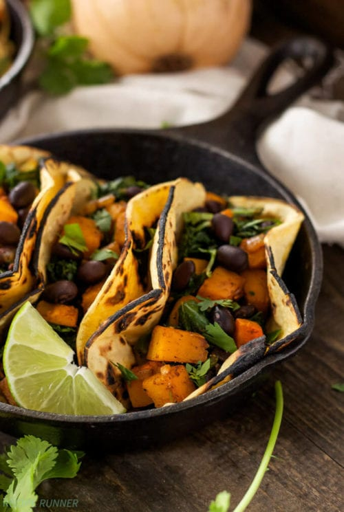 Butternut Squash, Black Bean and Kale Tacos by Spoonful of Flavor