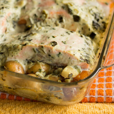 Baked Salmon with Spinach Dip and Potatoes