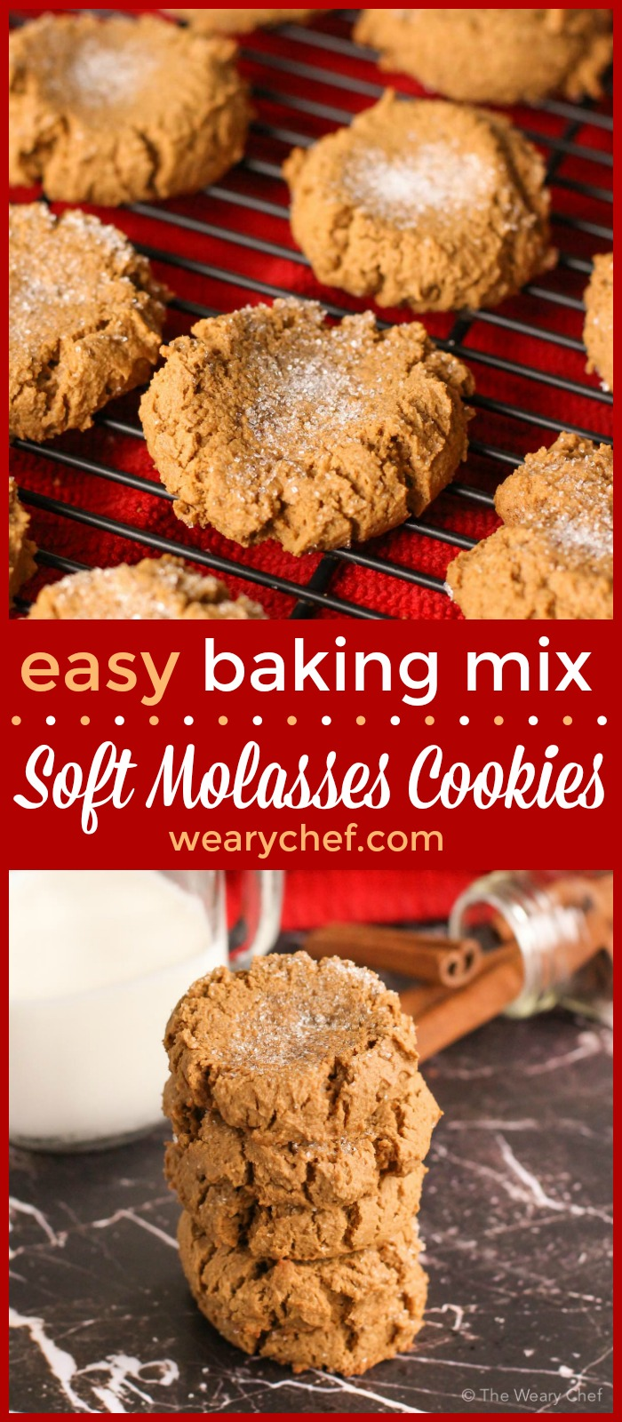 These delicious soft molasses cookies use baking mix as a shortcut. They are perfect for the holidays or an after school treat any time!