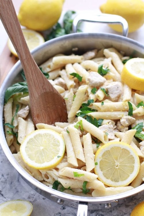 Creamy Lemon Chicken One Pan Pasta Skillet By Life Made Sweeter