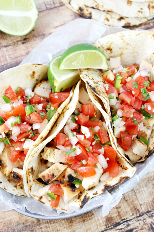 Grilled Chicken Fresco Tacos by Love Bakes Good Cakes