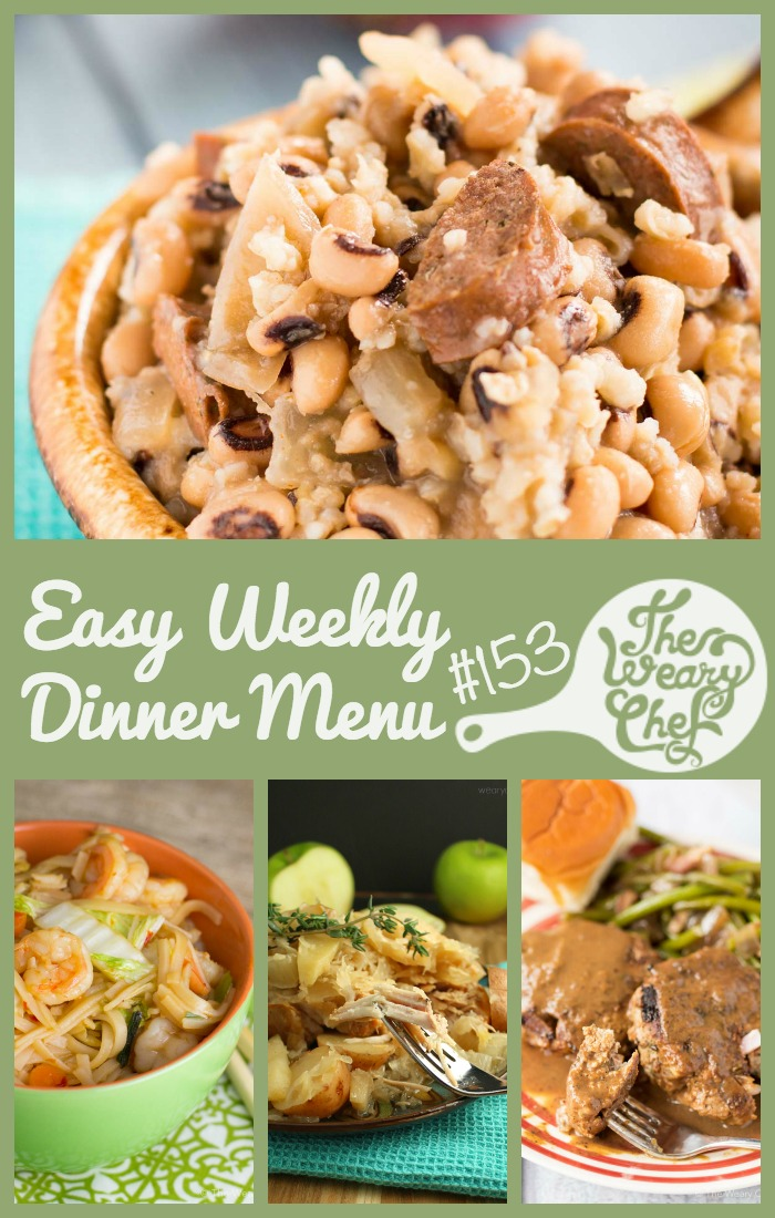 These week's dinner menu is sure to bring you a good year with a list of Lucky New Years Dinners! Try Hoppin' John, Pork with Sauerkraut, Asian Noodles with Shrimp, and lots more!