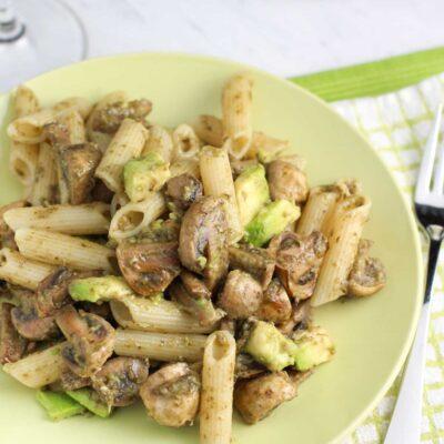 Mushroom Avocado Pesto Pasta Recipe
