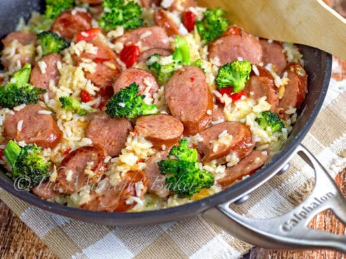 Smoked Sausage and Cheesy Rice by The Midnight Baker