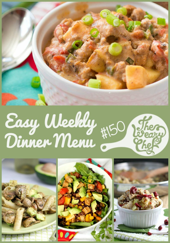 This week's menu features Sausage Chowder, Avocado Pesto Pasta, Cranberry Chicken Rice Skillet, and lots more easy dinner recipes!