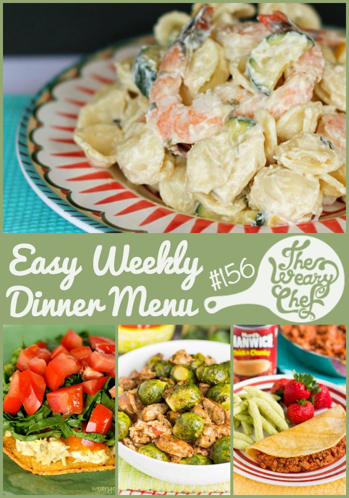 Looking for some quick dinners for the week ahead? How about sloppy joe quesadillas, buffalo turkey burgers, smoked salmon pizza, and more? Find them all in this menu of easy dinner recipes!