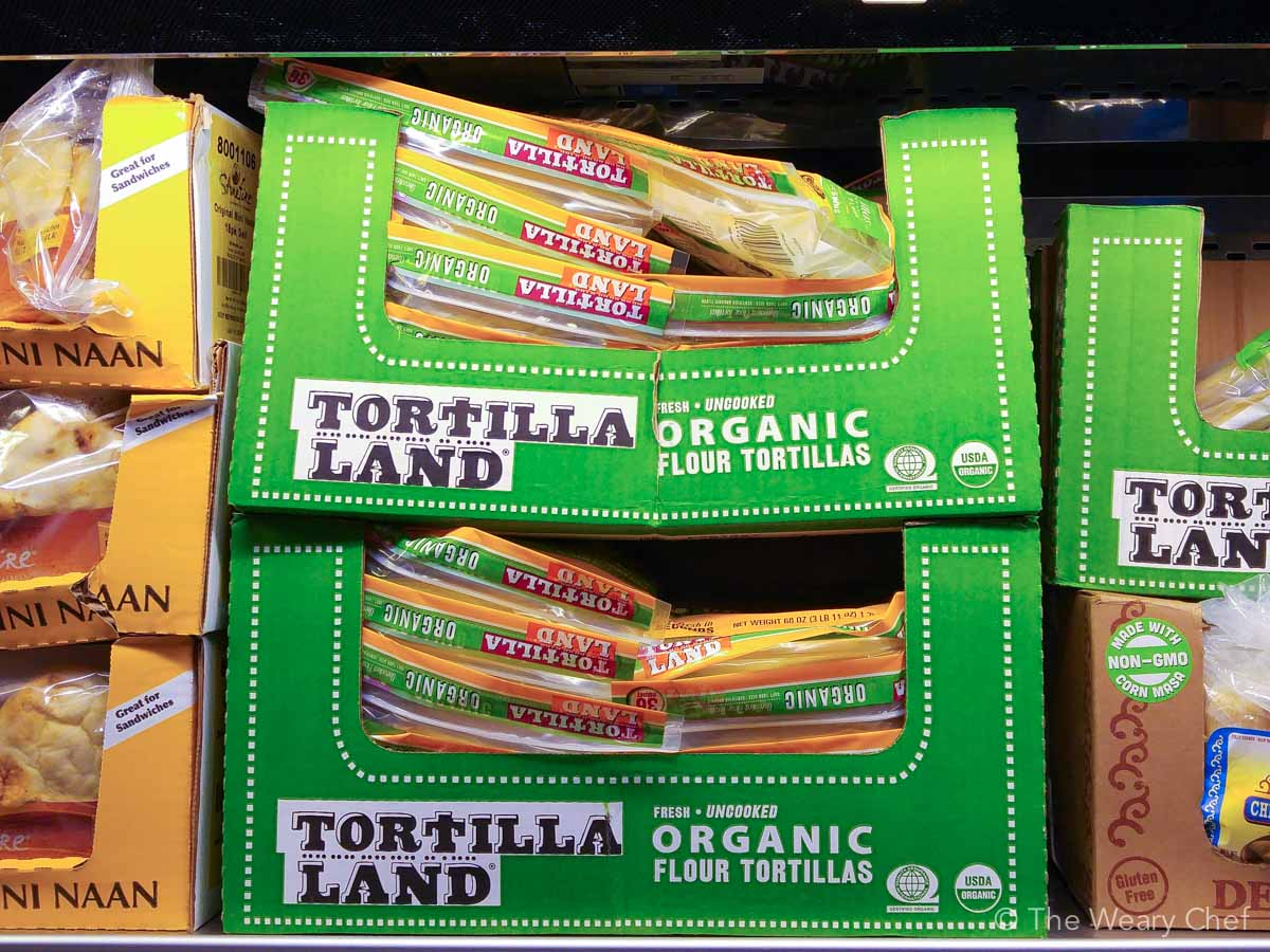 TortillaLand tortillas use only five ingredients and taste like homemade! Find them in the refrigerated section at Costco!