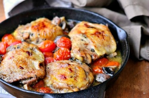 Roasted Chicken Thighs with Tomatoes and Mushrooms by Will Cook For Smiles