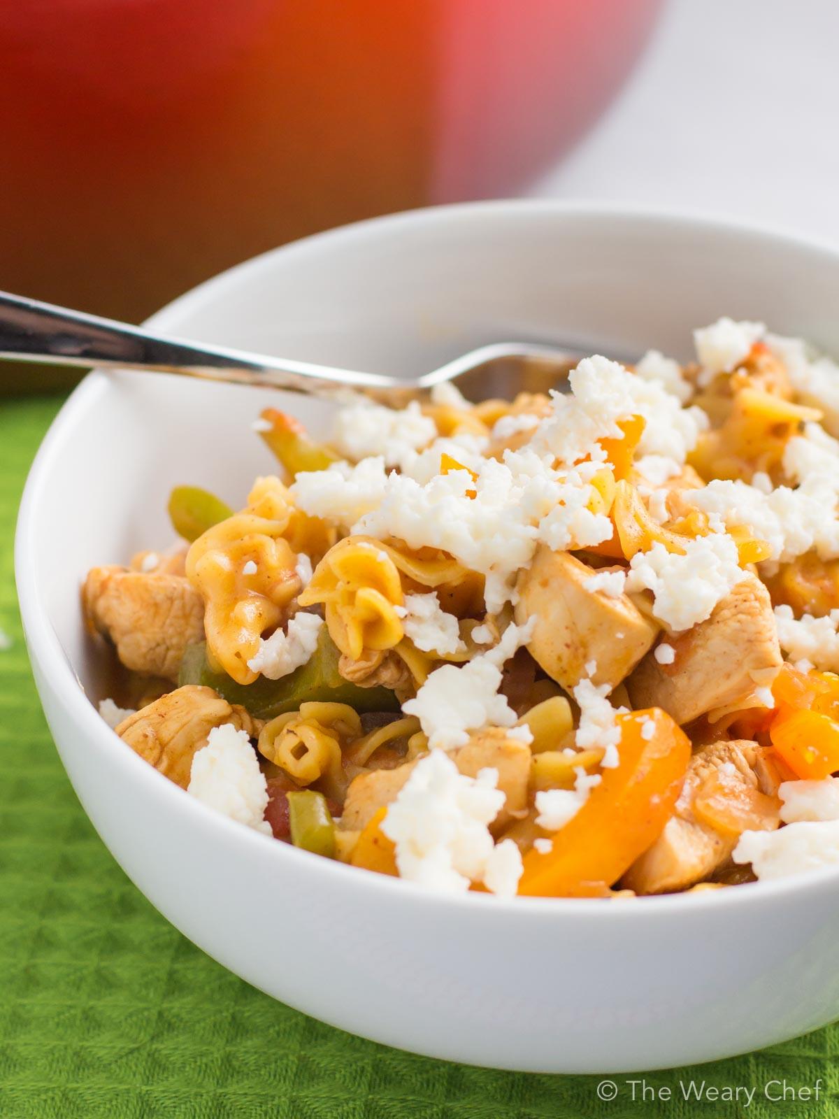 Get the taste of fajitas in this easy, one-pot chicken pasta recipe!