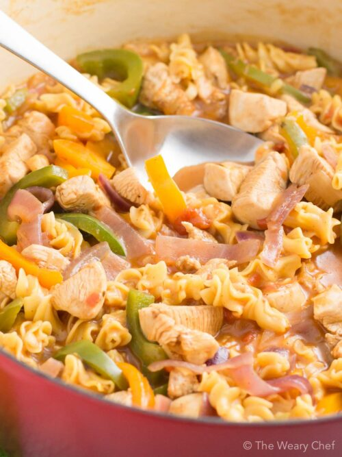 Get the taste of fajitas in this easy, one-pot chicken pasta recipe!