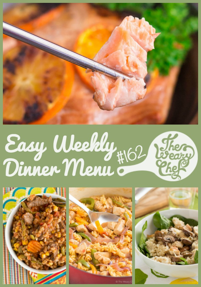 This week's menu features three different fajita-inspired dinner recipes plus seared salmon warm spinach salad, and lots more!