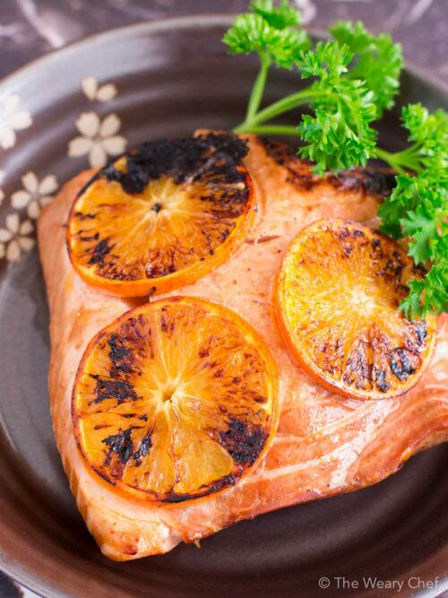This seared salmon with citrus is just the thing for a quick, healthy, delicious dinner!