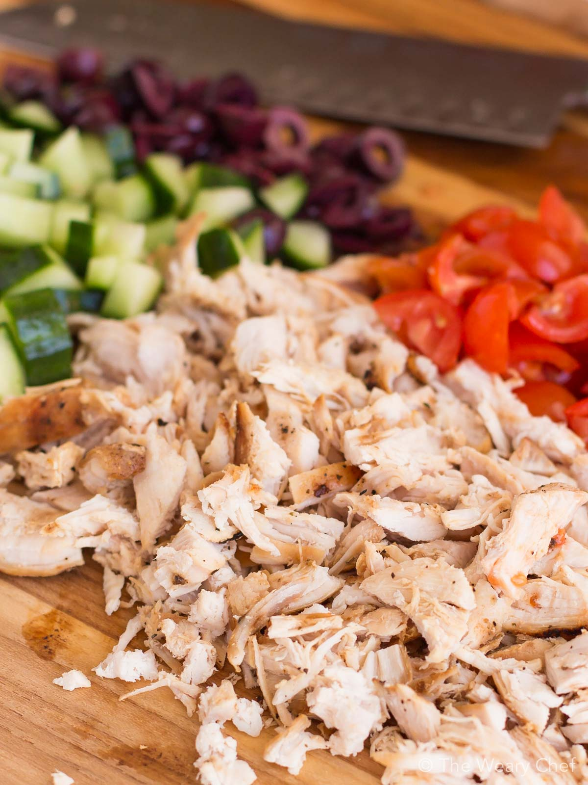 Easy greek chicken salad recipe the weary chef this easy chicken salad is made with organic ingredients and with a greek twist forumfinder Image collections
