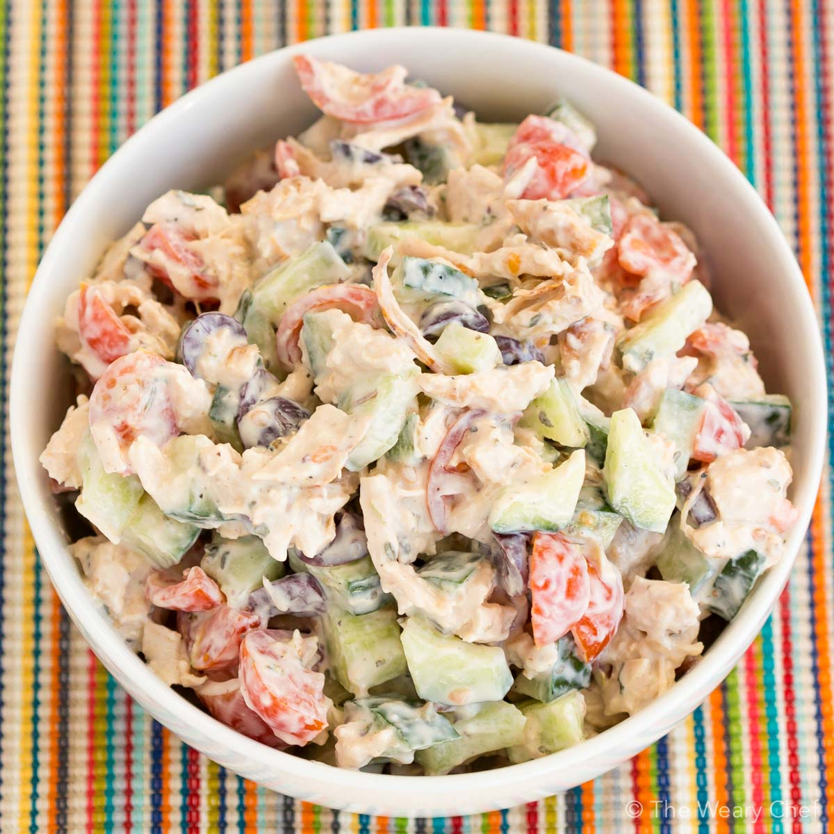 This easy chicken salad is made with organic ingredients and with a Greek twist!