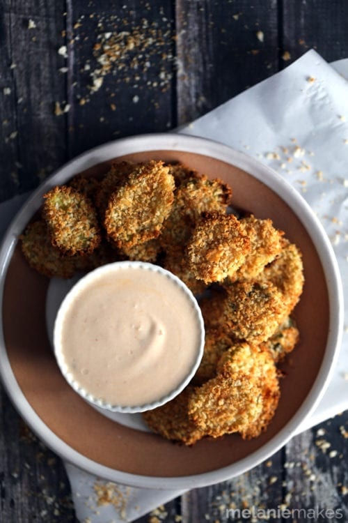 Oven Baked Pickle Chips with Horseradish Chipotle Sauce by Melanie Makes