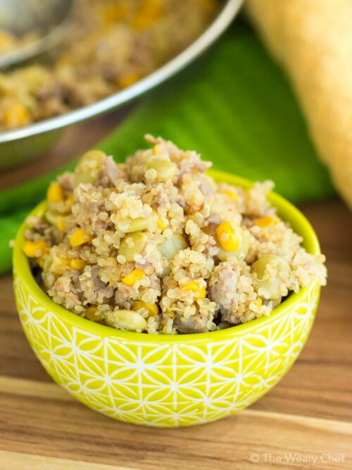 This skillet succotash recipe with sausage and quinoa is loaded with protein, fiber, and flavor!