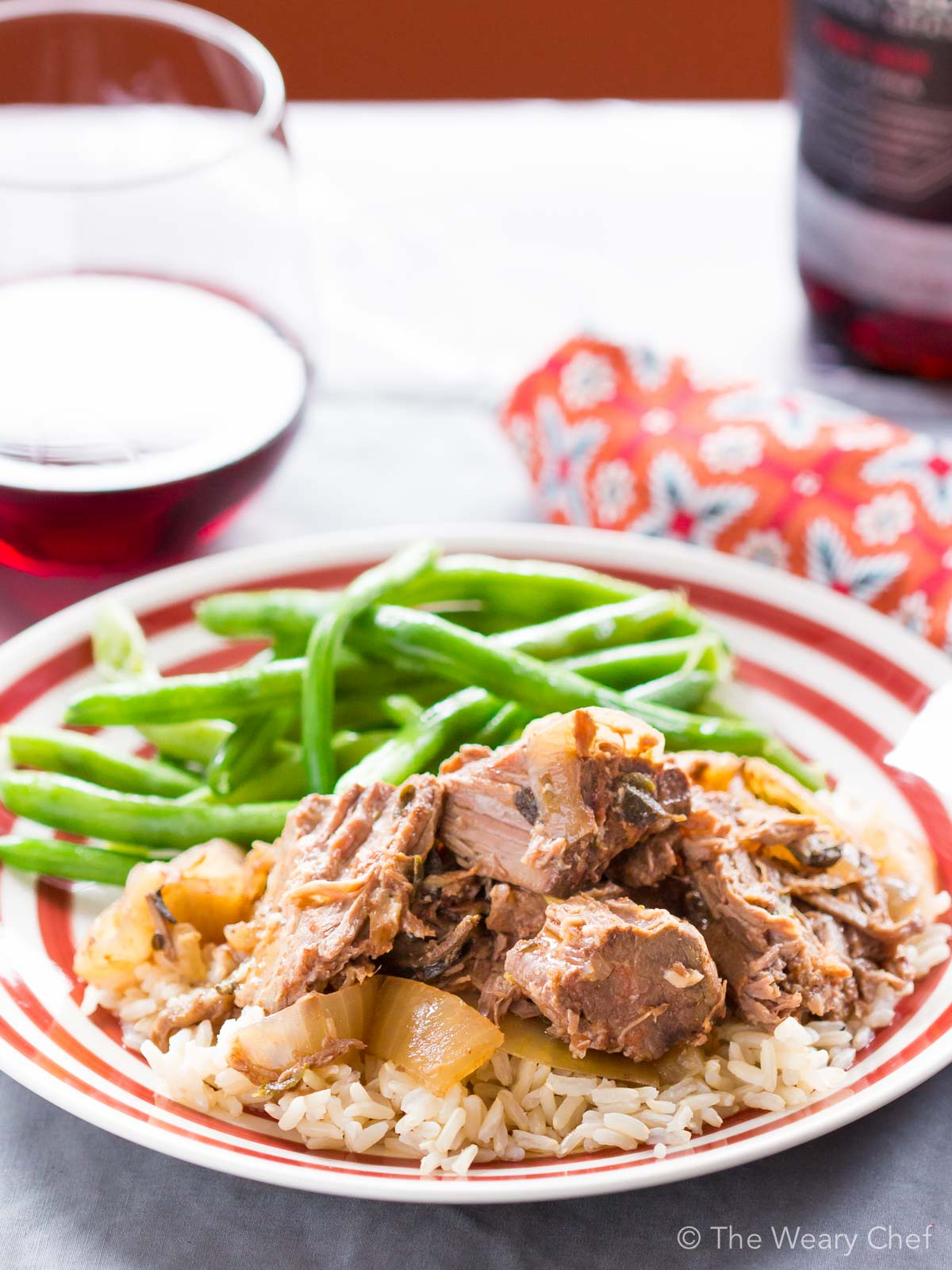 This slow cooker pot roast is LOADED with garlic and onion flavor!