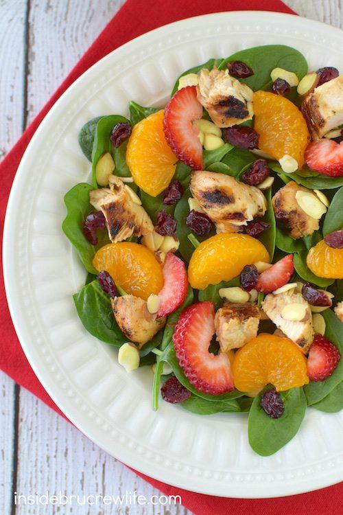 Strawberry Orange Spinach Salad with Chicken by Inside BruCrew Life
