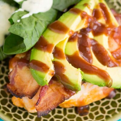 Baked Bacon Wrapped Chicken Breast with Avocado