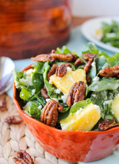 Pineapple Spinach Salad by The Food Charlatan