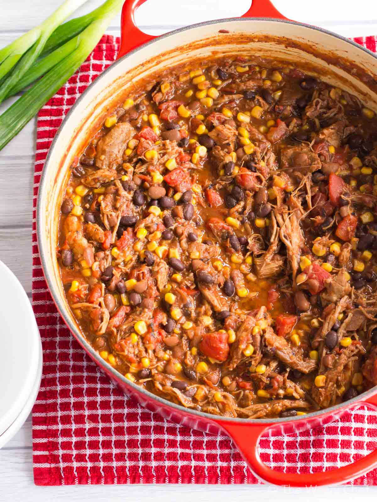 Got leftover pork roast? Put it to good use in this quick and easy chili recipe!