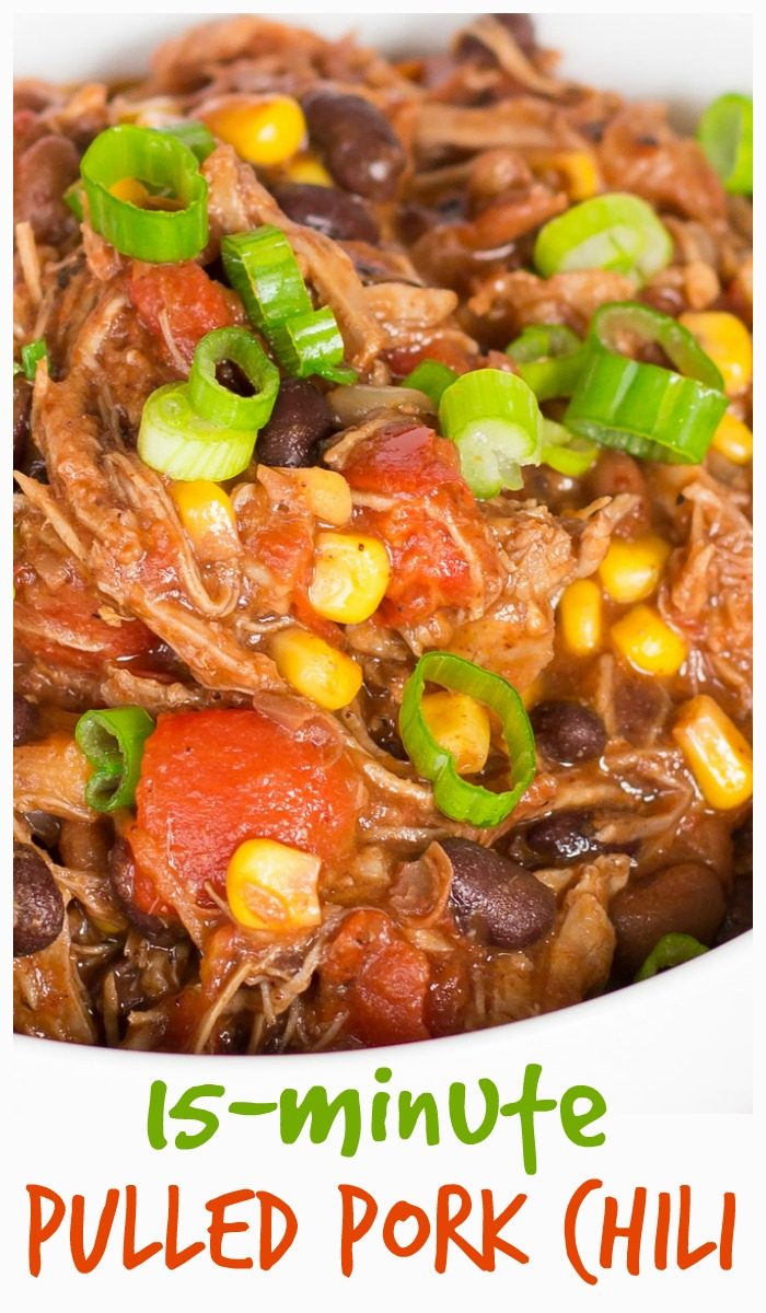 This pulled pork chili made with leftover pork roast is ready in about 15 minutes! #leftovers #pork #porkroast #soup #stew #chili #easydinner