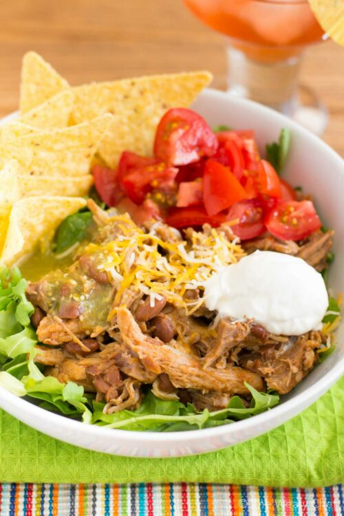You'll adore these easy and flavorful these crockpot pork roast burrito bowls!