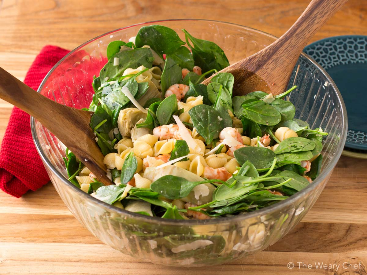Shrimp Pasta Salad with Spinach and Artichokes - The Weary ...