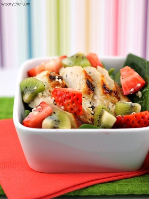 Spinach Strawberry Kiwi Salad with Chicken by The Weary Chef
