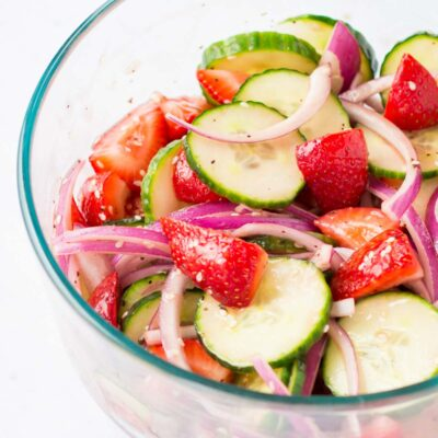 Cabernet Balsamic Strawberry Cucumber Salad