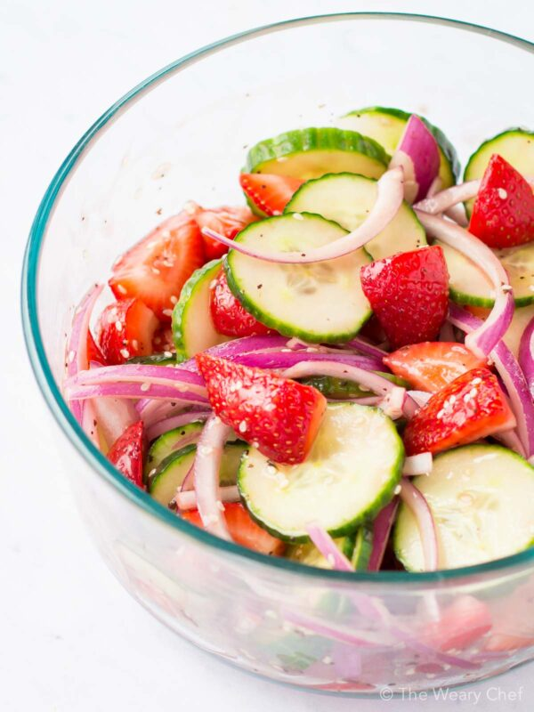 This cucumber strawberry salad with balsamic cabernet dressing tastes like Summer!