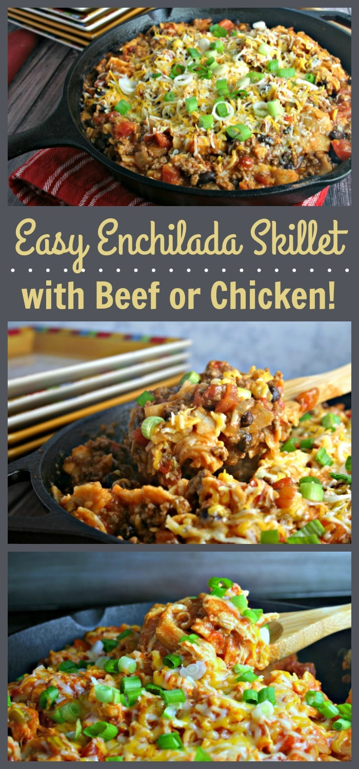 Easy beef or chicken enchilada skillet the weary chef youll love this versatile enchilada skillet recipe that can be made with chicken or forumfinder Choice Image