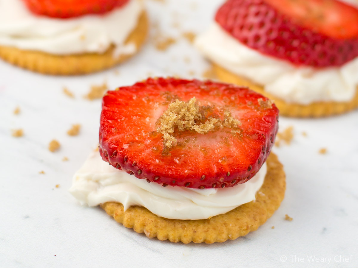 Enjoy a rich moment at home with these quick and easy Strawberry Cheesecake RITZ Sandwiches! Kids and grownups both love them!