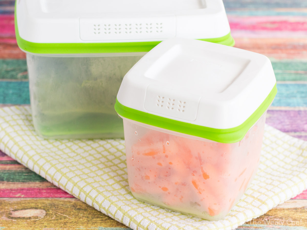 Rubbermaid Freshworks containers keep produce fresh 80% longer than grocery store packaging!