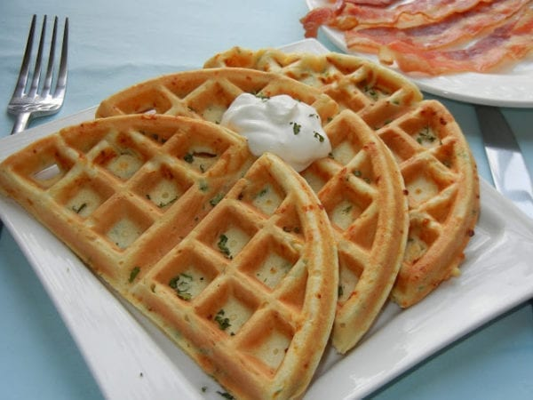 Smoked Cheese and Green Onion Waffles by Will Cook for Smiles