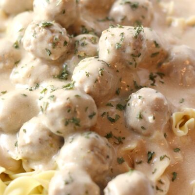 Easy Swedish Meatballs Recipe over Egg Noodles