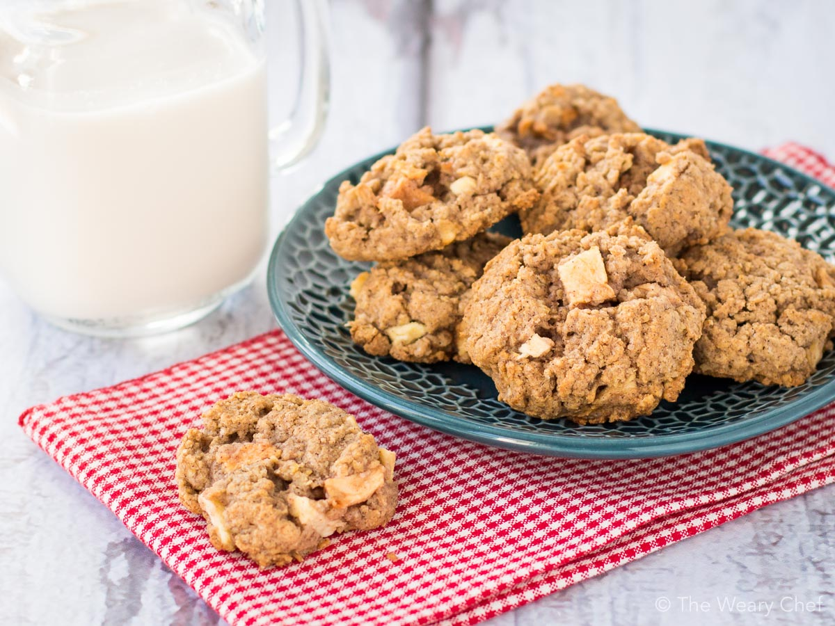 Cinnamon Apple Cookies with Oatmeal - The Weary Chef